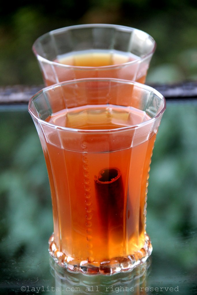 Canelazo or hot cinnamon and aguardiente drink