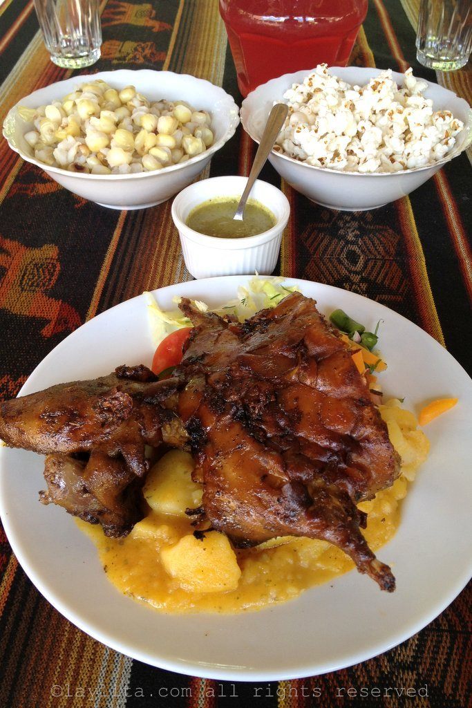 Cuy or roasted guinea pig in Loja Ecuador