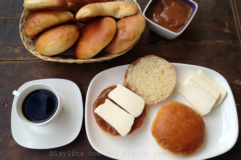 Pan lojano or bread from Loja with dulce de guayaba and queso