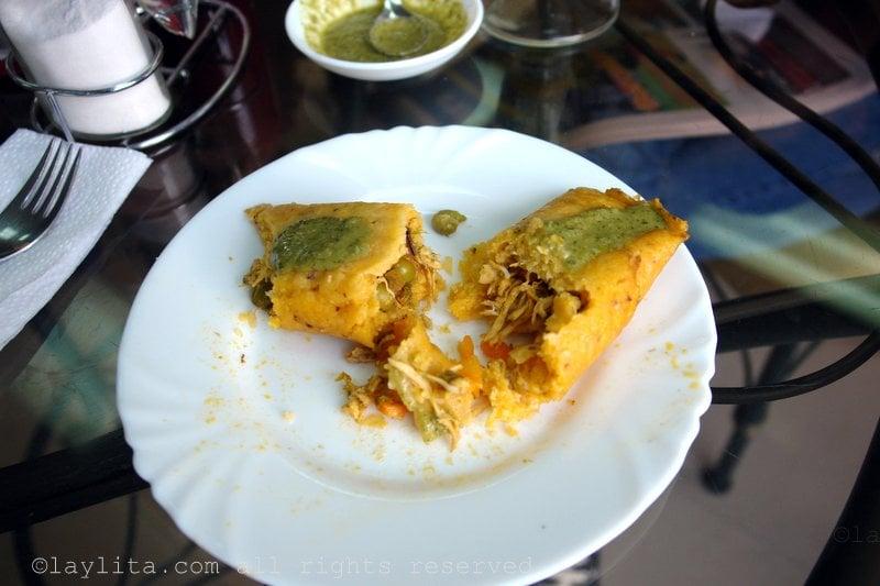 Tamal lojano with aji de pepa hot sauce