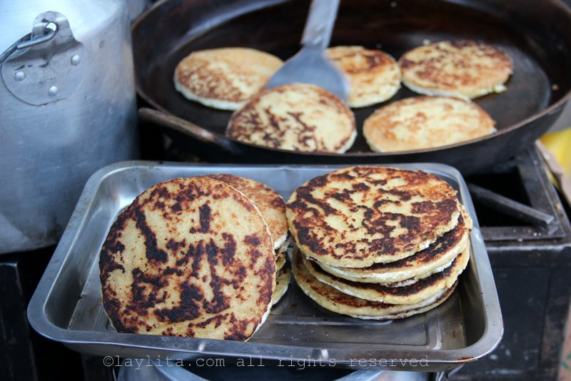 Tortillas de maiz gualo or sweet corn griddle cakes filled with cheese