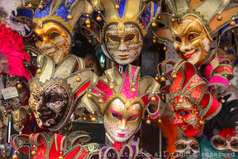 Colorful Venetian masquerade masks in Venice