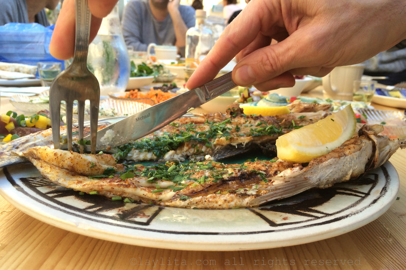 Fish with herbs and spices at Savida restaurant