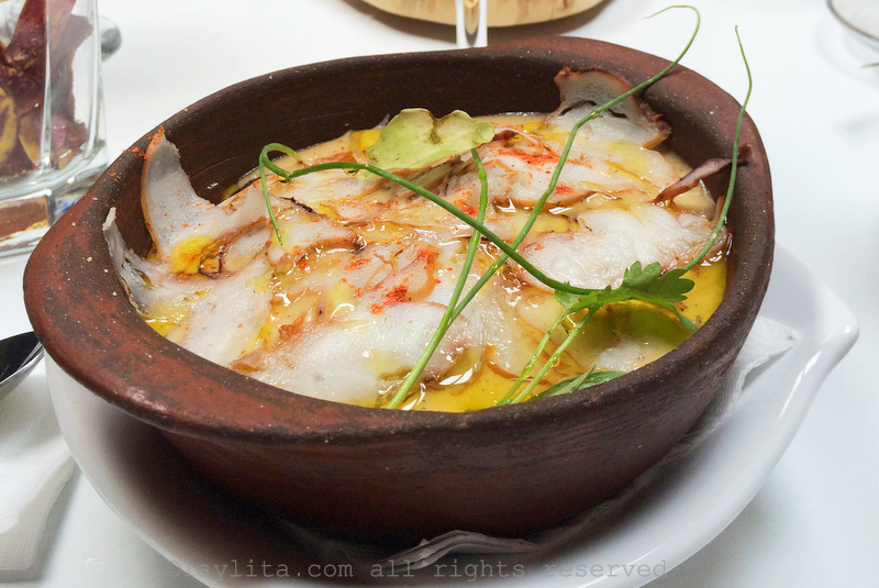 Locro de papas con pulpo or creamy potato soup with octopus