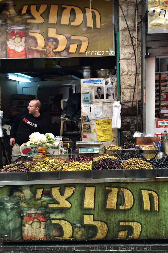 Olives at the market in Jerusalem