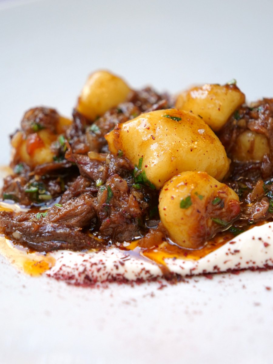 Gnocchi with lamb at Mona Restaurant in Jerusalem