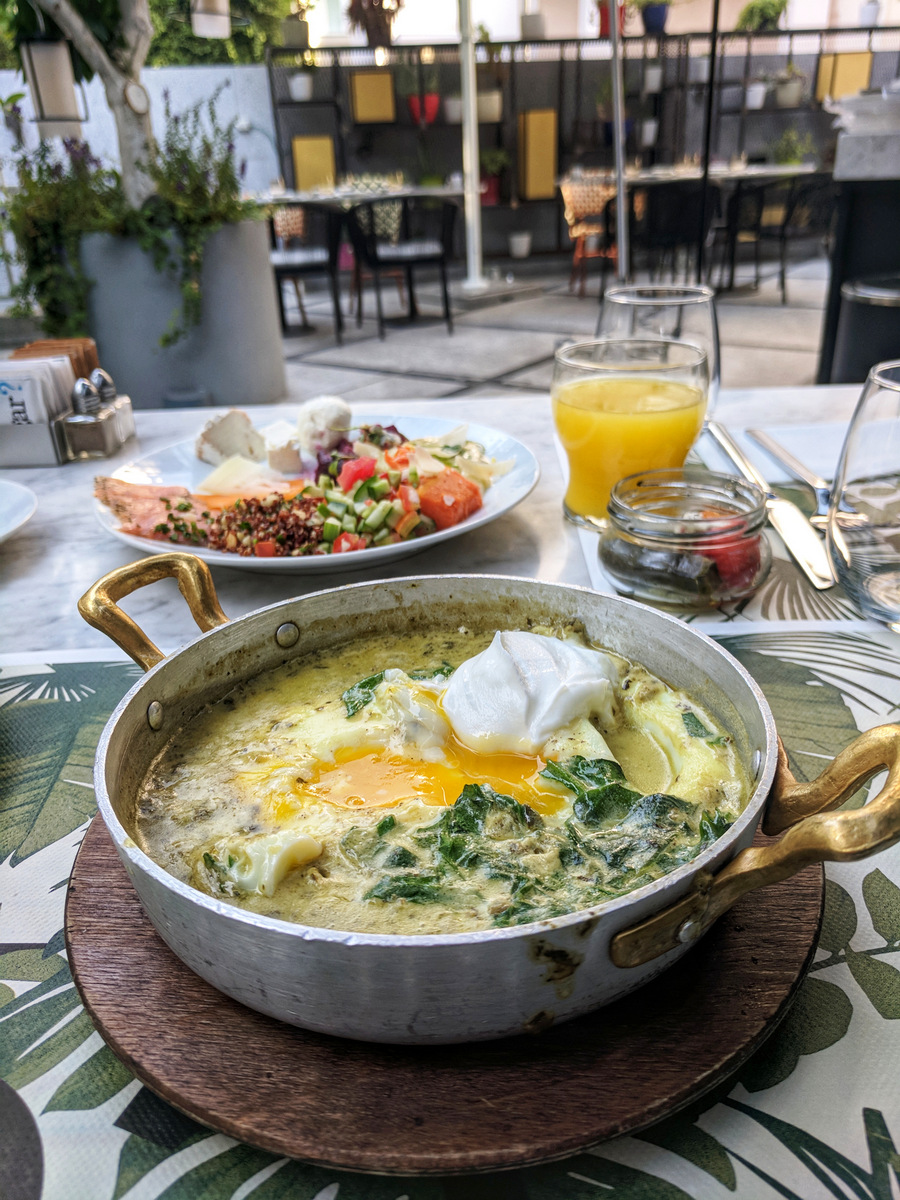 Green shakshuka breakfast at the 65 Hotel in Tel Aviv