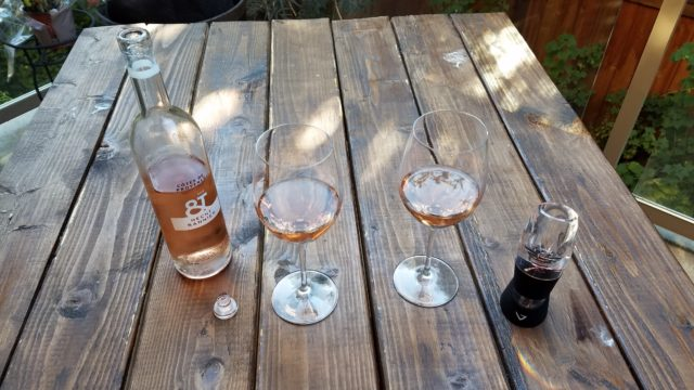 Sampling a Hecht Bannier rosé wine