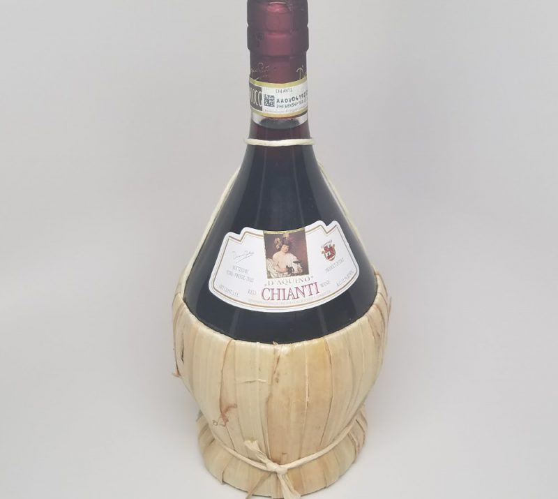 Traditional bottle of Chianti wine